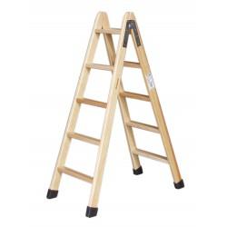 Escalera madera doble subida. Fondo blanco