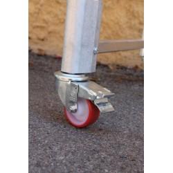 Andamio aluminio base 60x140 cm. Detalle freno.