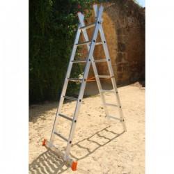 Escalera  aluminio plegable multiuso 2 tramos. Vista doble subida.