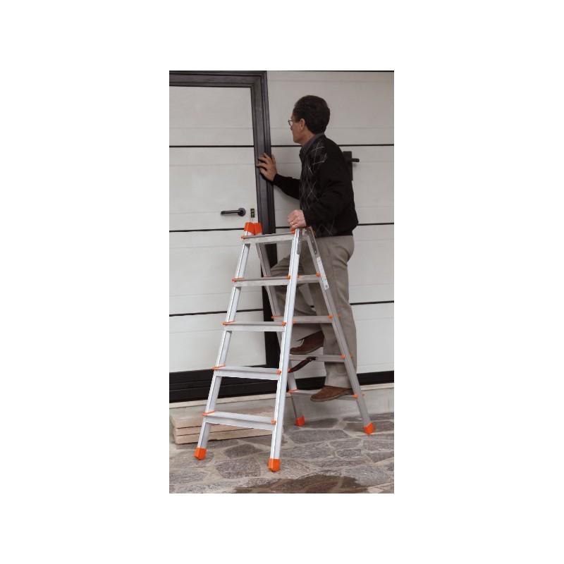 Escalera de aluminio de tijera con doble subida for Precio escalera aluminio
