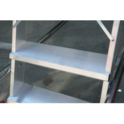 Escalera aluminio plataforma parte posterior recta. Detalle escalon